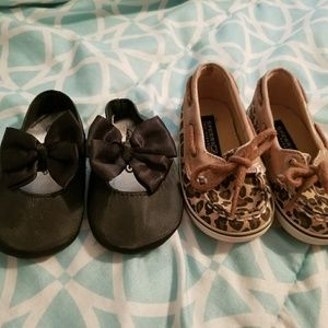 Baby girl cheetah sperrys and dress shoes